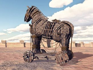 Computer generated 3D illustration with the Trojan Horse at Troy